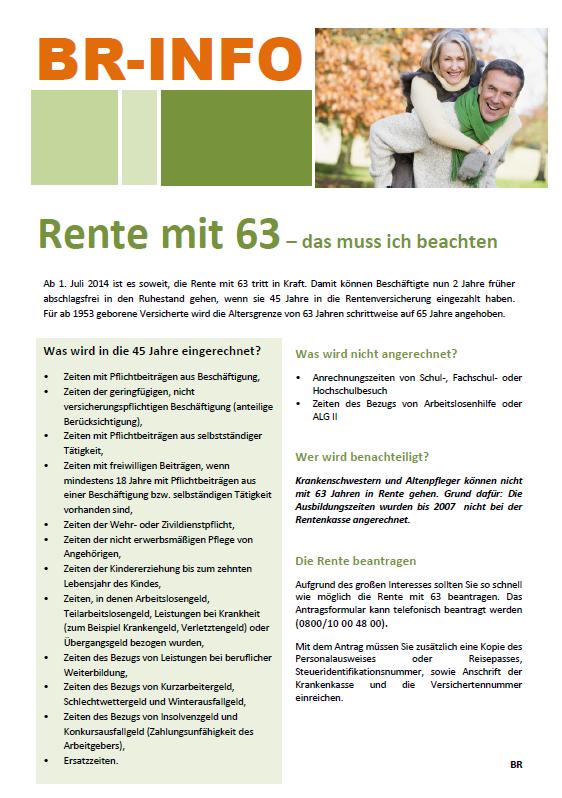 Rente mit 63 - Inklusive Aushang