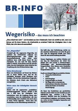 Wegerisikio - Schnee und Eis auf dem Arbeitsweg - inklusive Aushang zum Download