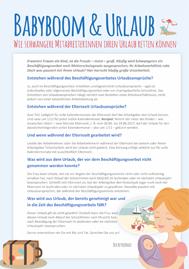 Urlaubsanspruch in der Schwangerschaft, Elternzeit und im Beschäfitgungsverbot - Was gilt? Inkusive Aushang als Download für Betriebsräte und Personalräte