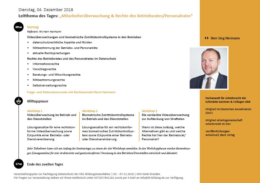 Fachtatung Datenschutz für Betriebsräte und Personalräte Tagesprogramm 2. Tag