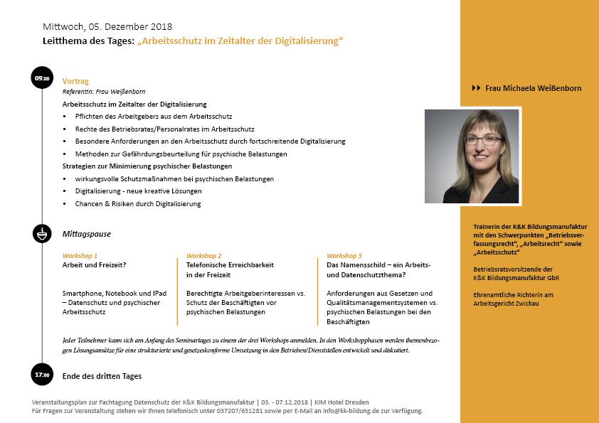 Fachtatung Datenschutz für Betriebsräte und Personalräte Tagesprogramm Tag 3