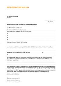 Beschlussfassung zur Durchführung einer Inhouse-Schulung für Betriebsräte - Download als PDF