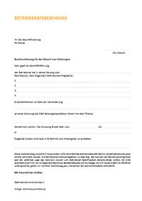 Beschlussfassung zum Seminarbesuch für den Betriebsrat - Download als PDF