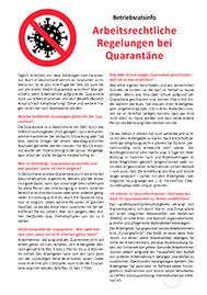 Sonderaushang zum Thema Arbeitsrechtliche Regelungen bei Quarantäne - inklusive Musteraushang