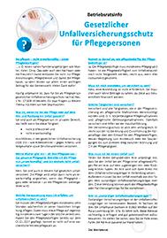 Gesetzlicher Unfallversicherungsschutz für Pflegepersonen - Thema des Monats für Betriebsräte und Personalräte - inklusive Musteraushang